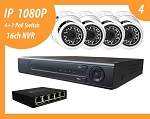 4 - IP Cameras 1080P Metal Eyeball, high observe angle 106° , Night Vision with HVR ( NVR + DVR in one) and 4+1port PoE Switch
