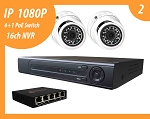 2 - IP Cameras package 1080P Metal Eyeball, high observe angle 106° , Night Vision with 4K HVR ( NVR + DVR in one) and 4+1port PoE Switch
