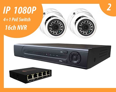 IP 1080P solution with 2 IP cameras and NVR up to 16 IP 1080P CCTV cameras (HDD selling separate)