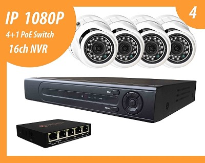 IP 1080P solution with 4 IP cameras and NVR up to 16 IP 1080P CCTV cameras (HDD selling separate)