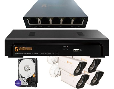 4 IP Cameras 960P, NVR, 1TB HDD, PoE Switch (Package #2)