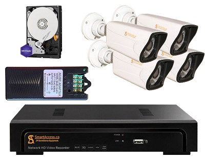 4 IP CCTV Cameras 1080P with Sony Image Sensor 2.43MP, 4ch NVR, Power Supply Adapter for 4 Cameras, WD Purple 1TB HDD.